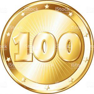 Hundred Years Anniversary - Round Gold Badge